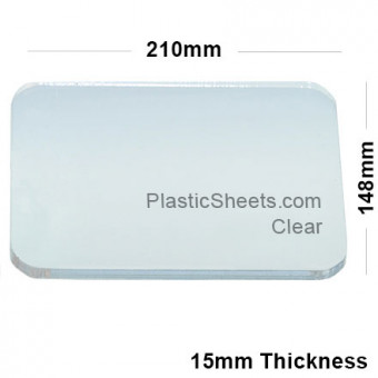 15mm Clear Acrylic A5 Sheet 210 x 148