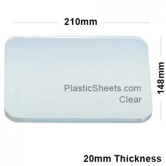 20mm Clear Acrylic A5 Sheet 210mm x 148mm