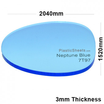 3mm Blue Fluorescent Acrylic Sheet 2040 x 1520