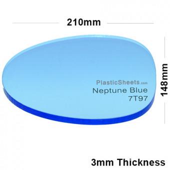 3mm Blue Fluorescent Acrylic Sheet 210 x 148