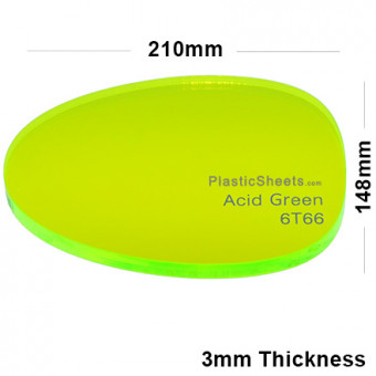3mm Green Fluorescent Acrylic Sheet 210 x 148