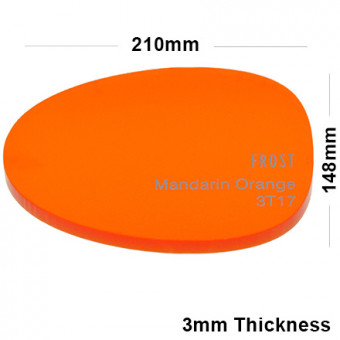 3mm Orange Frosted Acrylic Sheet 210 x 148