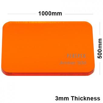 3mm Orange Tinted Acrylic Sheet 1000 x 500