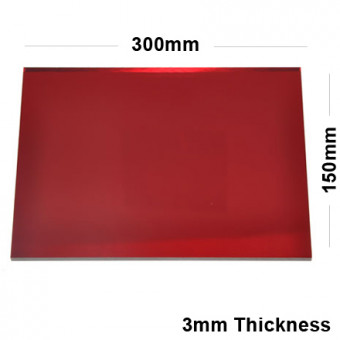 3mm Red Acrylic Mirror Sheet 300 x 150