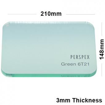3mm Light Green Tinted Acrylic Sheet 210 x 148