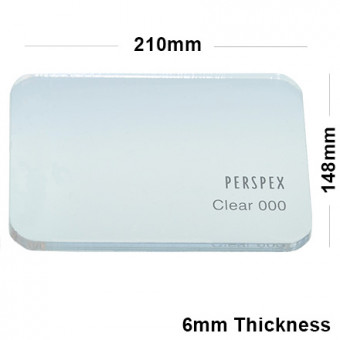 6mm Clear Acrylic Plastic Sheet 210mm x 148mm