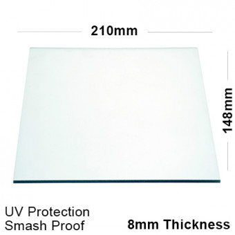 8mm Clear Polycarbonate Sheet 210 x 148