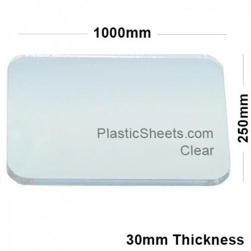 30mm Clear Acrylic Sheet 1000 x 250
