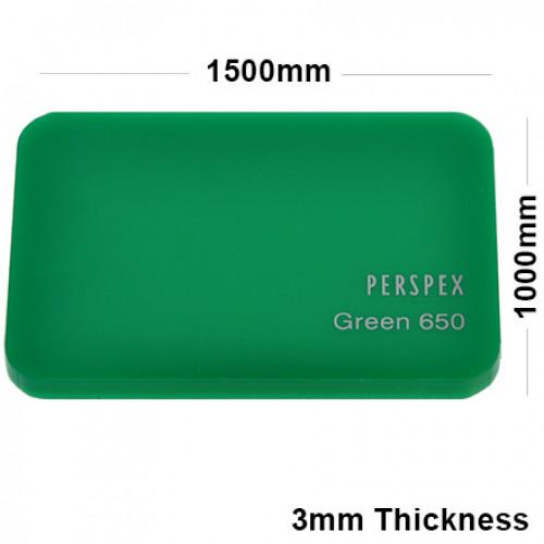 3mm Green Acrylic Sheet 1500 x 1000