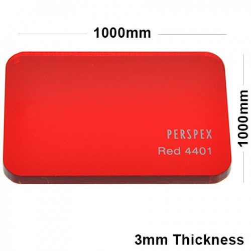 3mm Red Tinted Acrylic Sheet 1000 x 1000