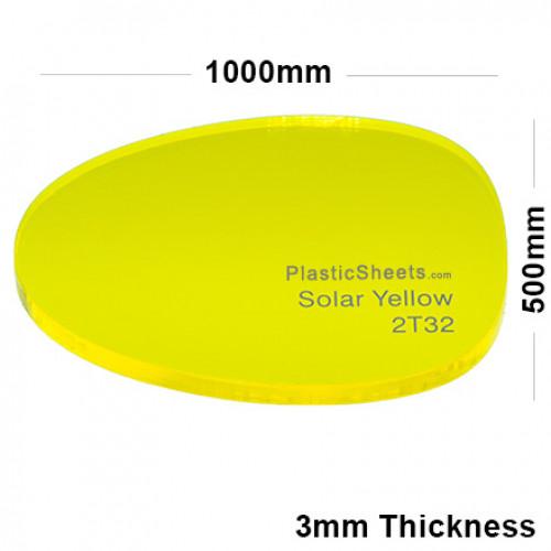 3mm Yellow Fluorescent Acrylic Sheet 1000 x 500