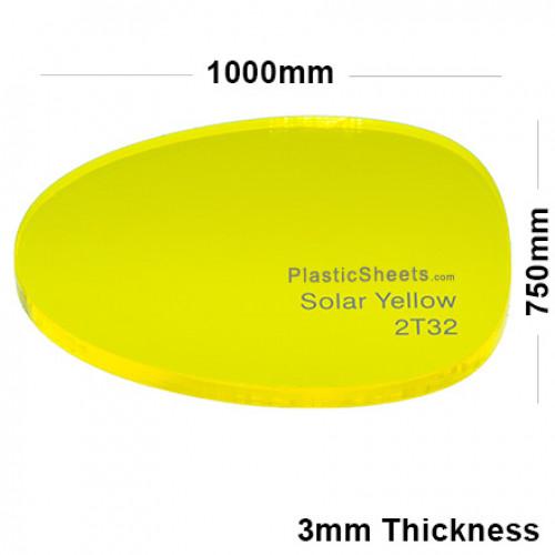 3mm Yellow Fluorescent Acrylic Sheet 1000 x 750