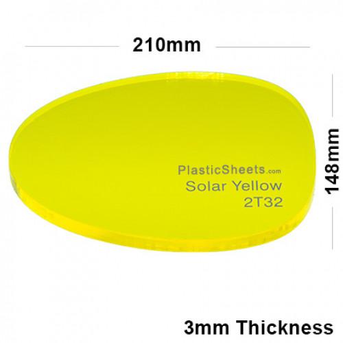 3mm Yellow Fluorescent Acrylic Sheet 210 x 148