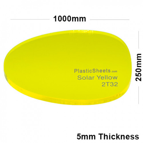 5mm Yellow Fluorescent Acrylic Sheet 1000 x 250