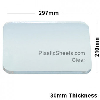30mm Clear Acrylic Sheet 297 x 210