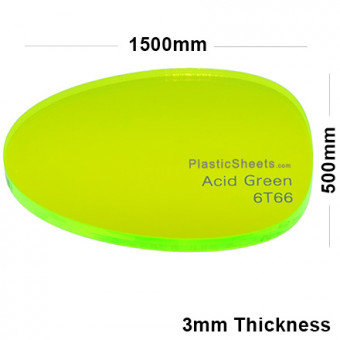 3mm Green Fluorescent Acrylic Sheet 1500 x 500