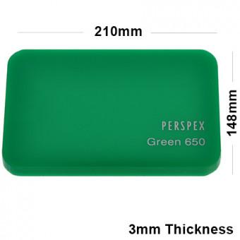 3mm Green Acrylic Sheet 210 x 148