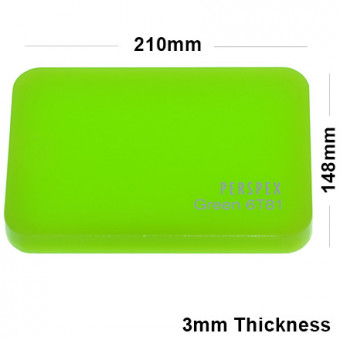 3mm Lime Green Acrylic Sheet 210 x 148