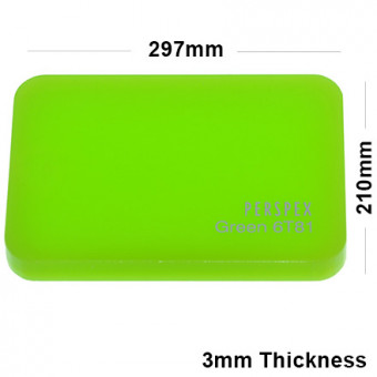 3mm Lime Green Acrylic Sheet 297 x 210