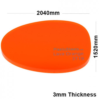 3mm Orange Fluorescent Acrylic Sheet 2040 x 1520