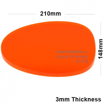 3mm Orange Fluorescent Acrylic Sheet 210 x 148