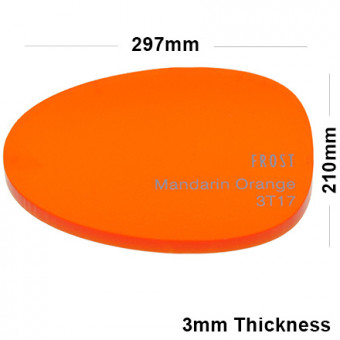 3mm Orange Frosted Acrylic Sheet 297 x 210