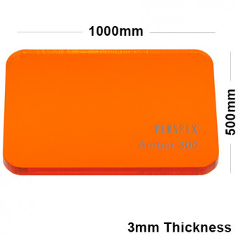 3mm Orange Tinted Acrylic Sheet 1000 x 500