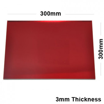 3mm Red Acrylic Mirror Sheet 300 x 300