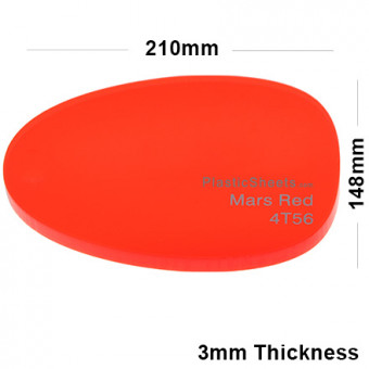 3mm Red Fluorescent Acrylic Sheet 210 x 148