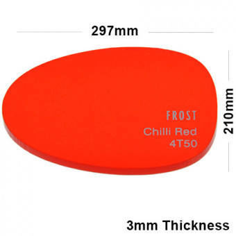 3mm Red Frosted Acrylic Sheet 297 x 210
