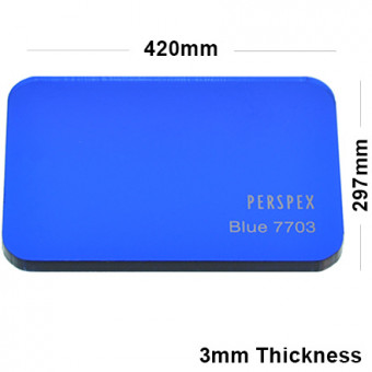 3mm Dark Blue Tinted Acrylic Sheet 420 x 297