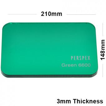3mm Dark Green Tinted Acrylic Sheet 210 x 148