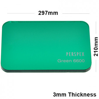 3mm Dark Green Tinted Acrylic Sheet 297 x 210