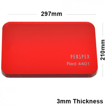3mm Red Tinted Acrylic Sheet 297 x 210