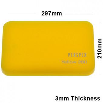 3mm Yellow Acrylic Sheet 297 x 210