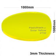 3mm Yellow Fluorescent Acrylic Sheet 1000 x 1000